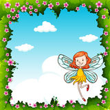 Border design with fairy flying in the sky Stock Photography