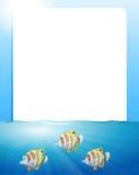 Border design with fish swimming. Illustration Stock Photography