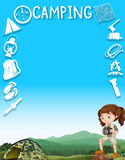 Border design with girl and camping tools Stock Photo