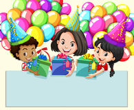 Border design with girls and presents Royalty Free Stock Photos