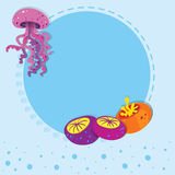Border design with jelly fish Royalty Free Stock Images
