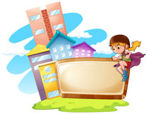Border design with kid and buildings Royalty Free Stock Photo