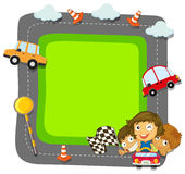 Border design with kids and traffic Royalty Free Stock Images