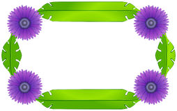 A border design with lavender flowers and green leaves Royalty Free Stock Photography