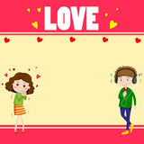 Border design with lovers Stock Photo