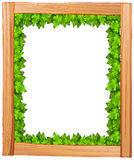 A border design made of wood and green leaves Stock Images