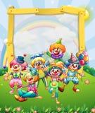 Border design with many clowns Royalty Free Stock Photo