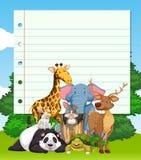 Border design with many wild animals Royalty Free Stock Photos