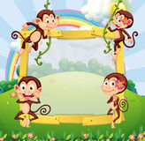 Border design with monkeys in the park Stock Photography