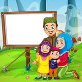 Border design with muslim family Stock Photos