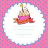 Border design with pink cupcake Stock Photo