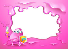 A border design with a pink three-eyed monster holding a shield Royalty Free Stock Image