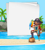 Border design with pirate on the beach Royalty Free Stock Image