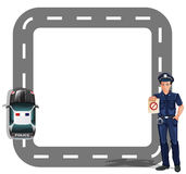 A border design with a policeman and a patrol car Royalty Free Stock Image