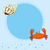 Border design with shell and crab Royalty Free Stock Image