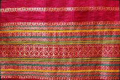 Border Design on Silk Sari Stock Image