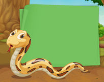 Border design with snake crawling. Illustration Royalty Free Stock Photography