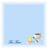 Border design with tea and macaron Stock Image