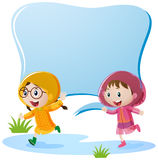 Border design with two girls in raincoat. Illustration Royalty Free Stock Images