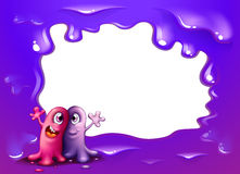 A border design with two one-eyed monsters. Illustration of a border design with two one-eyed monsters Royalty Free Stock Images