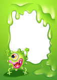 A border design with a very happy green monster. Illustration of a border design with a very happy green monster stock illustration