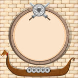 Border design with viking and sheilds. Illustration Royalty Free Stock Image