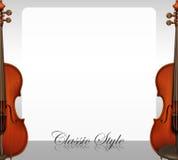 Border design with violins. Illustration Royalty Free Stock Images