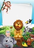 Border design with wild animals. Illustration Stock Photography
