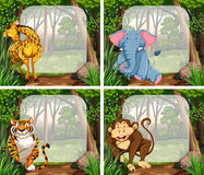 Border design with wild animals in jungle Stock Photography