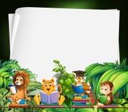 Border design with wild animals reading books Stock Photos