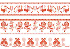 Border Designs. Red and white vector illustration Royalty Free Stock Images