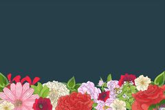 Border with different flowers in doodle style. Hand drawn elements for wedding floral design, greeting card, vector illustration. Spring blossom royalty free stock photos