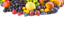 Border of different fruits isolated on white Royalty Free Stock Image