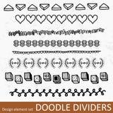 Border divider set. Collection of decorative borders illustration. Doodle divider or text break clipart group set Stock Photos