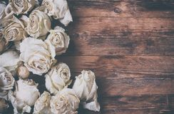Border of dry white roses on old wooden table Stock Image