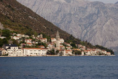 On border of elements, Perast town Stock Photos