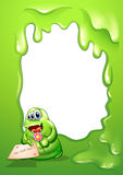 A border with a fat green monster holding a card and a flower Royalty Free Stock Images