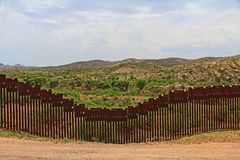 Border Fence Separating the US from Mexico Near Nogales, Arizona stock photography