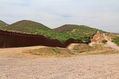 Border Fence Separating the US from Mexico Near Nogales, Arizona royalty free stock images