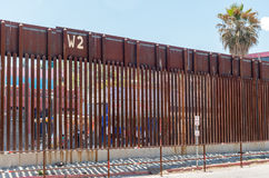 Border fence separating Mexico from the United States. Looking through the border fence from Nogales Arizona into Mexico Stock Images
