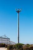 Border Fence Separating San Diego and Tijuana with Security Tower. Border fence separating San Diego, California and Tijuana, Mexico, with a security tower with Stock Photography