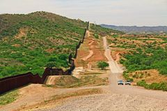 Border Fence Separating the US from Mexico Near Nogales, Arizona royalty free stock photography