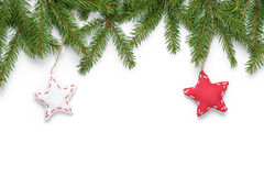 Border from fir twigs with stars royalty free stock photos