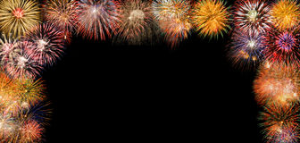 Border with fireworks Royalty Free Stock Image
