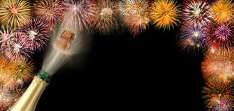 Border with fireworks. And popping champagne stock images