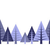 Border with firtrees. In different shades of blue Royalty Free Stock Images