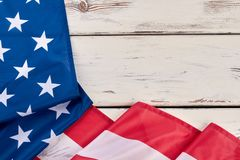 Border from flag of United States of America. American flag on wooden background with text space. Labor Day concept Stock Photos
