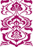 Border floral silhouette, vertical floral pattern isolated background Oriental motif Stock Photo