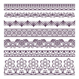 Border Floral  Silhouettes Illustration Set for banners and ethn Stock Photo