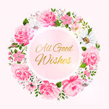 Border of flowers with all good wishes text. Royalty Free Stock Image